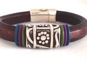 Leather Bracelet for Women - Brown Bracelet - Leather Silver Cuff - Flower Bracelet - Christmas Gift for Her