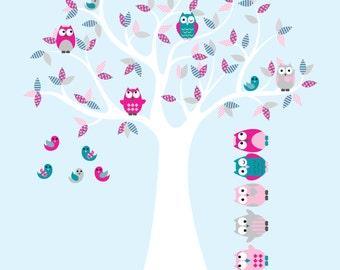 wall decals- Owl tree- Vinyl tree decal- Nursery tree- 5 Free owls