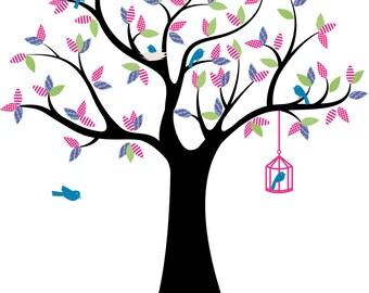 Nursery wall tree - Vinyl tree decal - Modern tree - Children decal - Bird cage decal