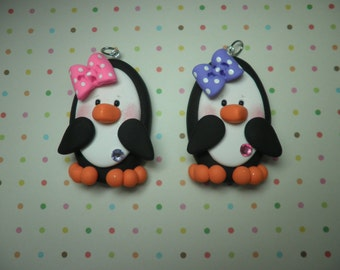 Polymer Clay Penguin Chunky Pendant,Ornament,Gift ( Listing for one pendant )