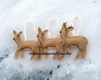 Felt Doe Fawn Buck Deer Family Ornaments