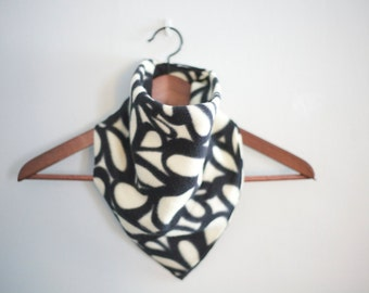 bandana scarf in black and off-white scrollwork pattern unisex men women floral adults and children