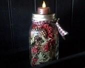 Quart Mason Jar with scented cones and tea light