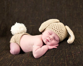 Easter Crochet Baby Girl Boy Bunny Rabbit Floppy Ears Photo Prop Hat with Fluffy Tail Diaper Cover Made to Order - Buff & Aran