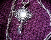 Victorian Moonlight ~ Filigree Necklace With Natural Moonstone & Moon Swarovski Element