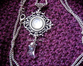 Bargain Price - Victorian Moonlight ~ Filigree Necklace With Natural Moonstone & Moon Swarovski Element