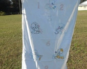 Baby Quilt 1950s Baby Bed Summer Quilt Crib Blanket Hand Embroidered #19