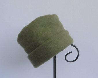 Sage Green Fleece Hat, Fleece Hat, Roll Brim Hat, Soft and Warm Hat, Green Hat