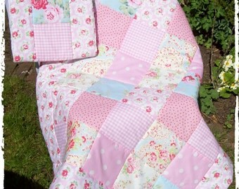 Cath Kidston Fabrics Baby Quilt and Bumper Set 2pc Shabby Chic Handmade Patchwork Nursery Set.