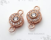 2pcs White Cubic Zirconia Excellent Quality 24K Rose Gold Plated Jewelry Findings // 7mm x 7mm (12mm including Loop) // 1186-BRG