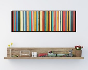 Brighton - Reclaimed Wood Wall Art in Red, Yellow, Green, and Teal - Modern Wood Art- Abstract Wood Art