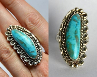 Vintage Turquoise and Sterling Silver Navajo Ring