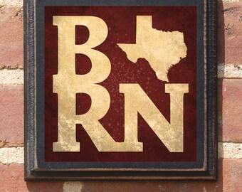 Texas BORN Wall Art Sign Plaque Gift Present Home Decor Vintage Style Custom Personalized Color TX Dallas Houston Austin El Paso Antique