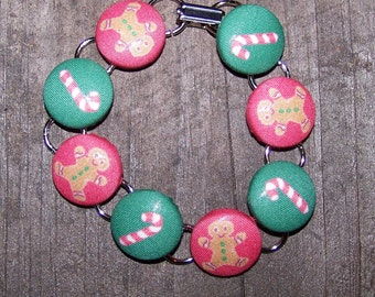 Ginger Bread Men and Candy Cane Button Bracelet