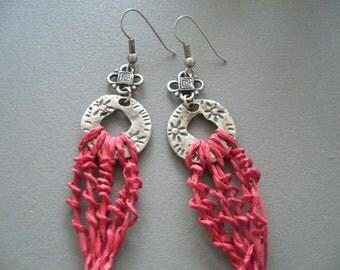 Red earrings dangle/loop earrings fiber