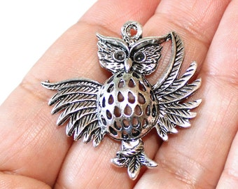 2 Large Owl Charms Antique Silver Tone - CH308
