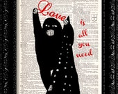 KING KONG Love is all you need - Beatles Vintage Dictionary Print Vintage Book Print Page Art Upcycled Vintage Book Art