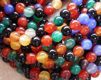 8mm Mixed Color Agate Polished Round Gemstone Beads, 15 Inch Strand (IND1C288)