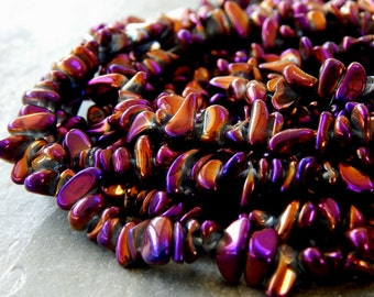 4-6mmX6-12mm Magenta Gold Electroplated Mystic Quartz Polished Gemstone Chip Beads, 15.5 Inch Strand (IND1C545)