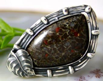Dinosaur Bone Ring Sterling Silver Fossil Jewelry