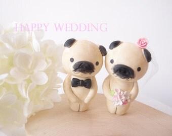 Custom Order Wedding Cake Topper - pug dog