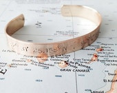 Personalized Coordinates Bracelet - Momeory Bracelet for him or her - Industrial inspired cuff bracelet
