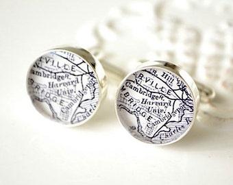 harvard university map cufflinks, timeless mens jewelry keepsake gift, classic cuff link accessories