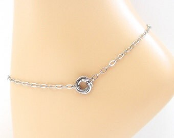 Love knot anklet, stainless steel ankle chain for women, love knot jewelry