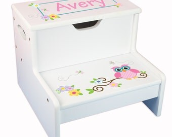Girls Personalized Step Stool with Storage Childs Step and Store Stool Great for Toddlers Baby Gift Step N Store Stools STEP-whi