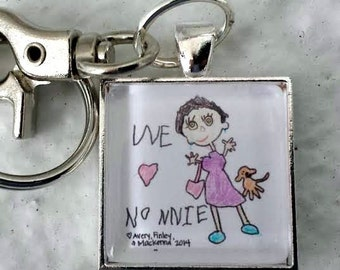 Actual Childs Handwriting Keychain or Necklace, Personalized Childs Artwork Drawing Keychain, Mom Gift Grandma Gift Mothers Day Gift