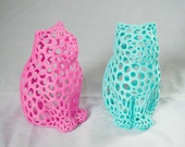 3D Printed Laser Cat Sculpture Voronoi Mathematic Art Kitty