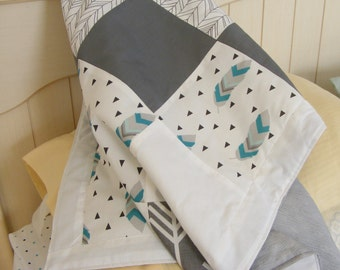 Baby Bedding Crib Bedding Cot Set 2/3 Piece Premium Modern Prints Woodland Feather Arrow Tribal Teal Blue Grey w/ other options