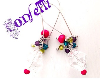 Confetti Party Earrings Dangle Multi Colored