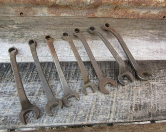 Collection of 7 Antique Signed FORD Tools Vintage Auto Tractor Automobile Car Tools Mechanics Garage Ford Tool Collector vtg Wrenches Wrench
