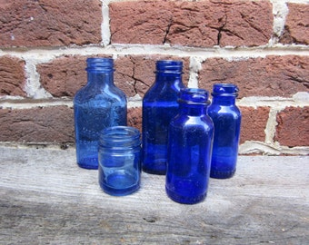 E Blue Bottles Collection 5 Antique Cobalt Blue Bottles Old Bottles Lot For Wedding Table Vases or Rustic Farm Country Display Old Fashion