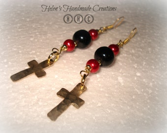 Dangling brass cross red black beaded earrings