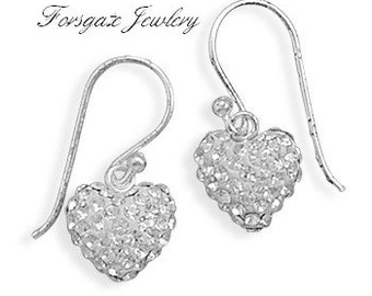 Swarovski Crystal Heart Dangle Earrings - 925 Sterling Silver