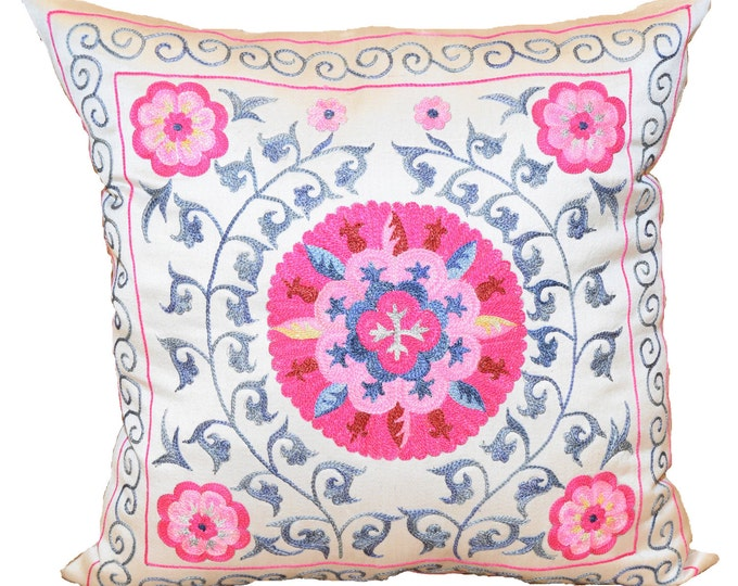 Pink Pillow, Handmade Suzani Silk Pillow Cover SMP138, Suzani Pillow, Uzbek Suzani, Suzani Throw, Suzani, Decorative pillows, Accent pillows