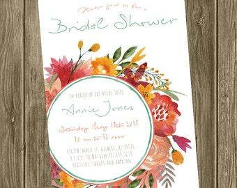 Bridal Shower Invitation - Watercolor Floral Wreath