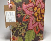 20% Off SALE - Pink and Brown Flower Journal