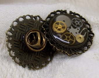 Steampunk Tie Tack in Antique Brass with Watch Parts