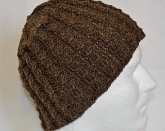 Hat with Cables, Brown, Knit Watch Cap, Wool Beanie for Teens, Women, Cabled Beanie, Warm Winter Hat, Wool Hat, Ready to Ship
