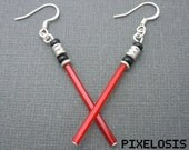 Glowy Red Lightsaber Earrings, Star Wars Jewelry, Darth Vader, Sith, The Dark Side, Handmade, Starwars, Star Wars Art, Star Wars Costume