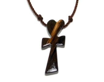 Wood Cross Necklace - Simple Cross Necklace - Zebrawood & Ebony - Gifts Under 20