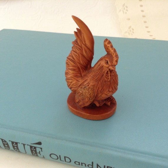 Hand carved bantam rooster boxwood collectible figurine
