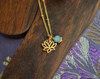 24k Gold Vermeil Lotus Anklet with Gemstone Accents