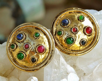 Carolee domed earrings with multi colored glass cabochons