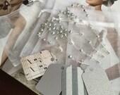"50 wedding favors  or baptism favors 50 pcs Organza bags, 4"" x 6"" white organza bag , 50 silver mini  rosaries  favor and 50 silver tags ,"
