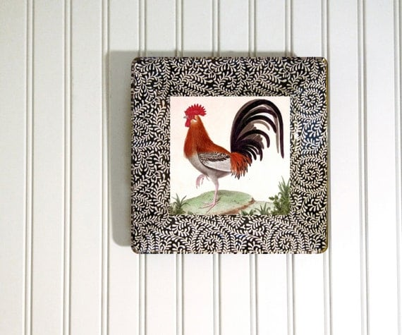 rooster - kitchen decor - decoupage plate - rooster art - hanging plate - antique rooster - wall hanging - black and white - red rooster