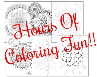 Fanciful Creations For Coloring Digital Download, Includes Flowing Designs and Mandalas